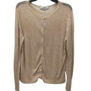 LOFT Sheer Honeycomb Print Cardigan Sweater, XL